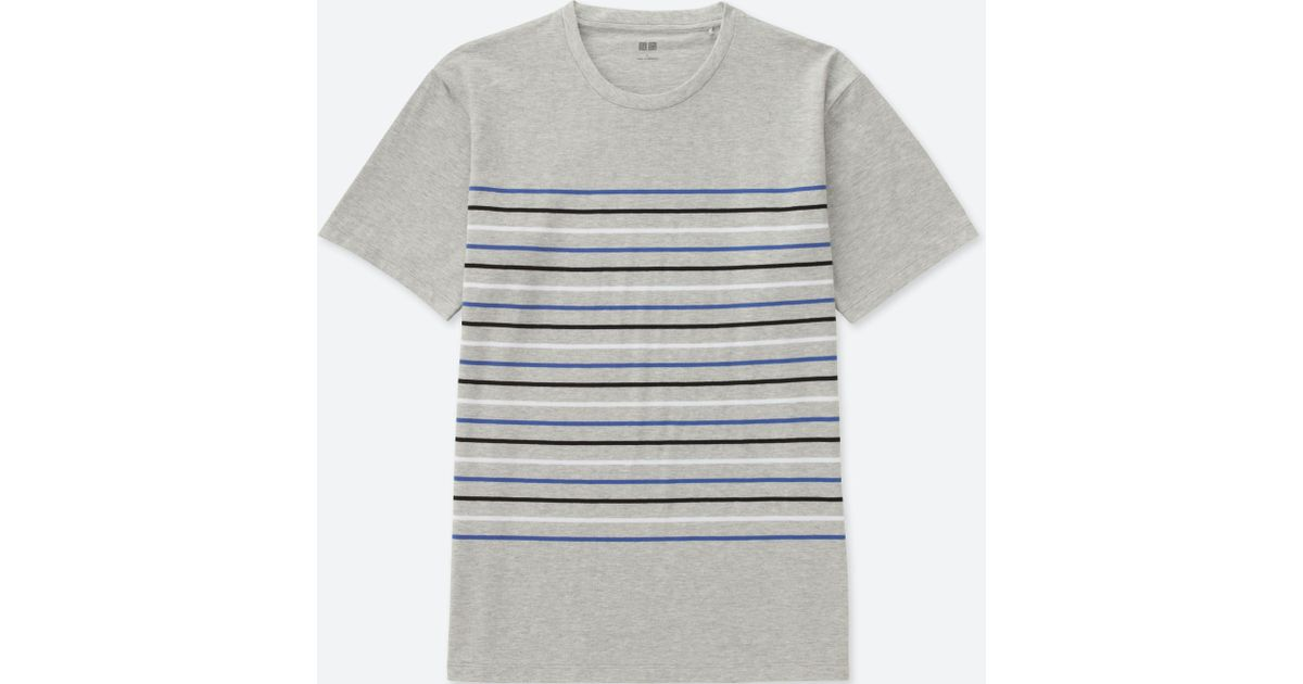 b2c225c657 Uniqlo 100% Cotton Striped Crew Neck Short Sleeve T-shirt in Gray for Men -  Lyst