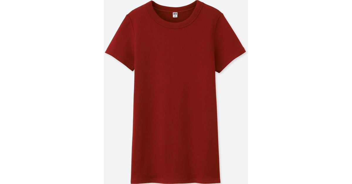 1c6b276e515b Lyst - Uniqlo Women Supima Cotton Ribbed Crew Neck Short-sleeve T-shirt in  Red