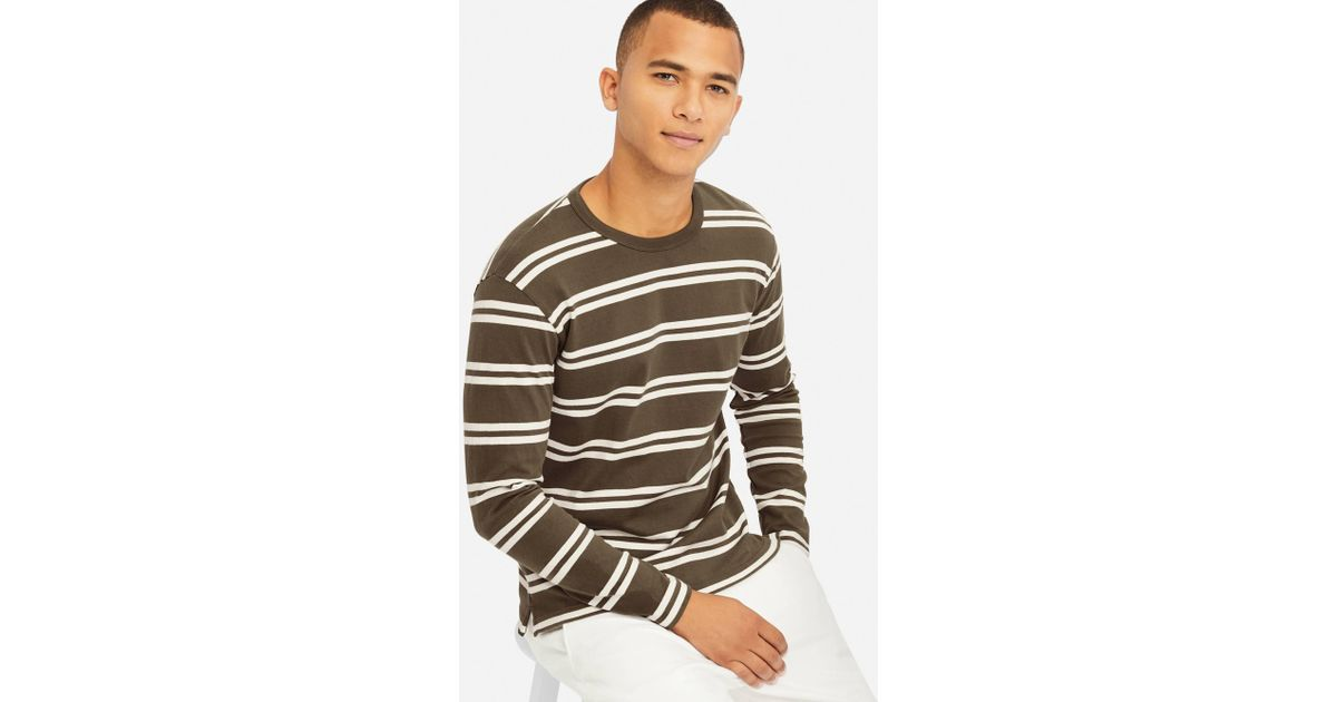 d4f7c709 Lyst - Uniqlo Washed Striped Long Sleeved T-shirt in Green for Men
