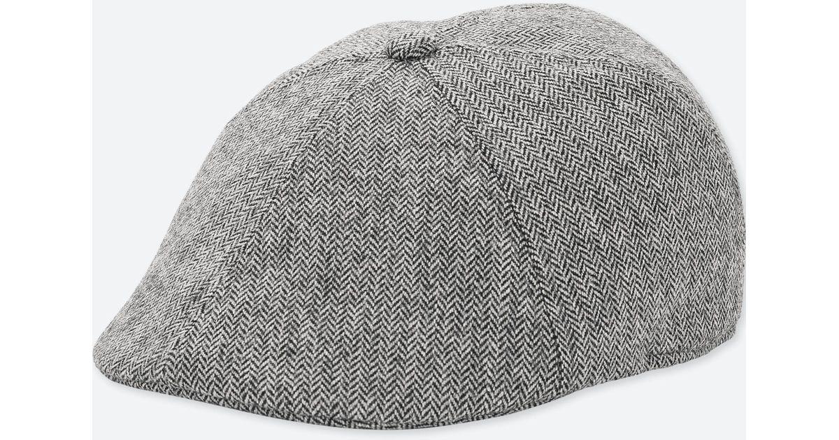 bbc9b2b407d50 Uniqlo Wool Blend Flat Driving Cap in Gray for Men - Lyst