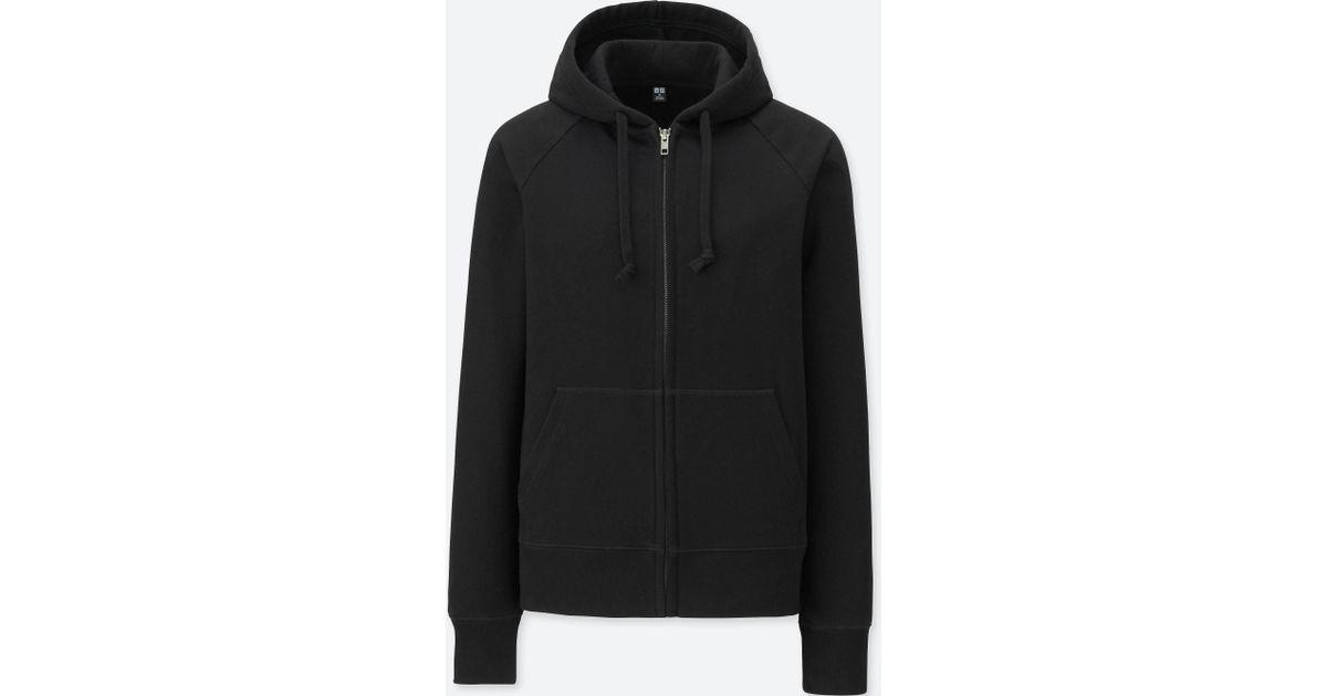 2639079bb8 Lyst - Uniqlo Women Sweat Long-sleeve Full-zip Hooded Sweatshirt in Black