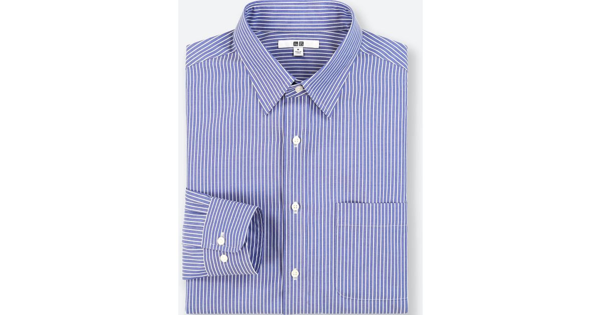 820f13f941 Lyst - Uniqlo Men Easy Care Striped Regular-fit Long-sleeve Shirt (online  Exclusive) in Blue for Men
