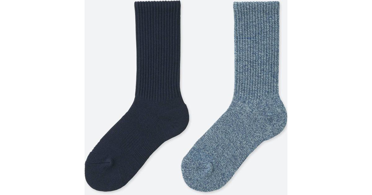 Uniqlo Women Heattech Line Sports Socks (2 Pairs) in Blue for Men ...
