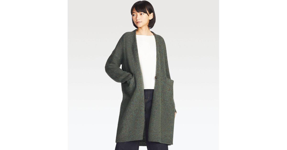 lyst uniqlo women melange wool coat in green