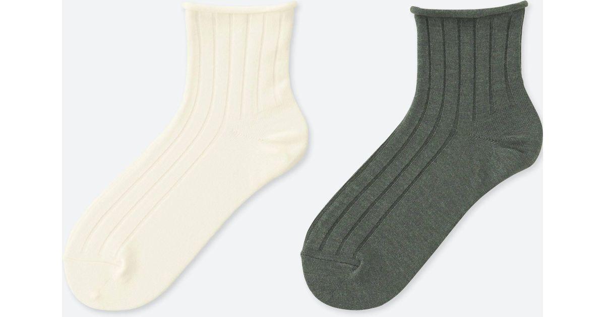 Uniqlo Women Toproll Heattech Socks (2 Pairs) in White   Lyst