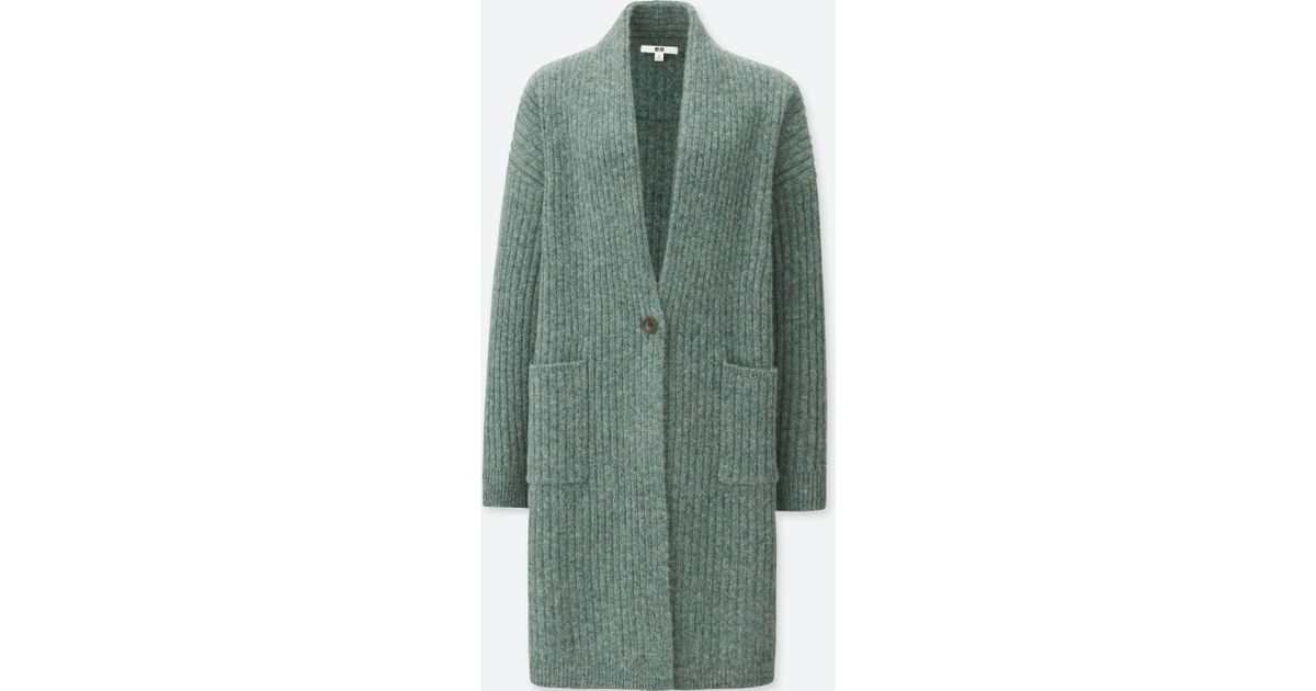 42c8719c0945 Uniqlo Women Wool Ribbed Knitted Coat in Green - Lyst
