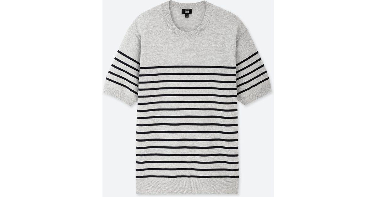 Lyst - Uniqlo Men Washable Striped Crew Neck Short-sleeve Sweater in Gray  for Men fadb4ea72
