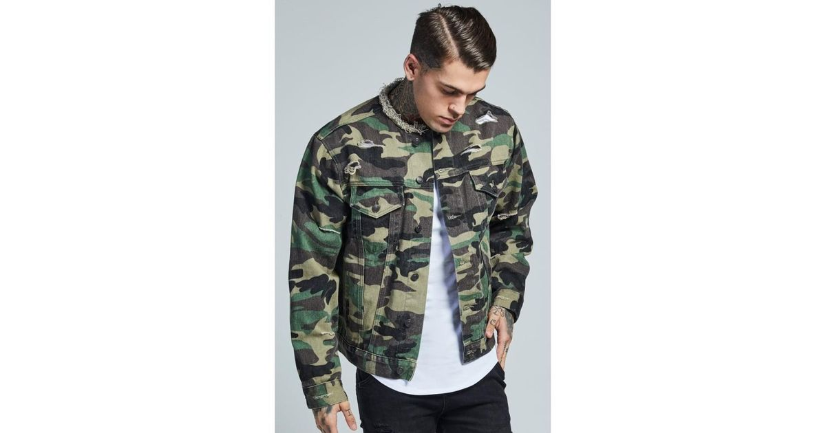 bb97c833cc Lyst - SIKSILK Collarless Denim Jacket for Men
