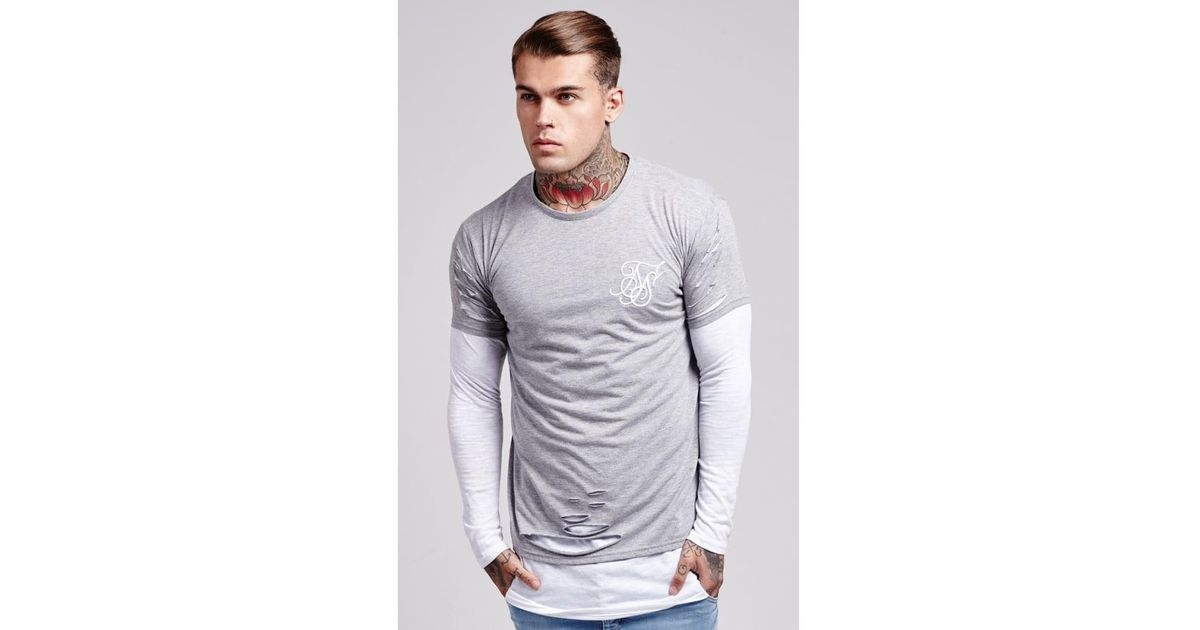 2b1556796dab Lyst - Siksilk L s Double Layered Ripped Tee in Gray for Men