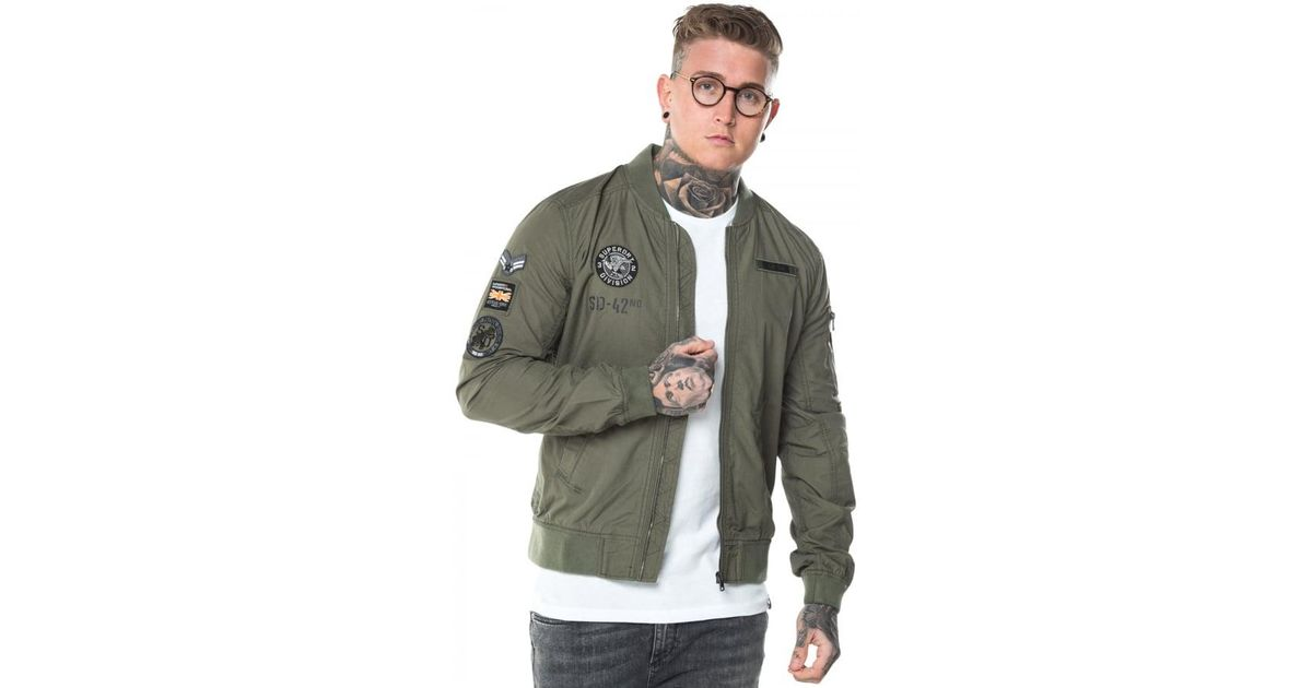 39e901263f898 Rookie Men For Aviator Superdry Bomber Lyst Green In Jacket Patched 4fSqUATf