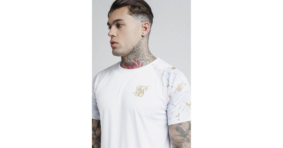 3489a349 Lyst - SIKSILK S/s Marbleise Raglan Curved Hem Tee in White for Men