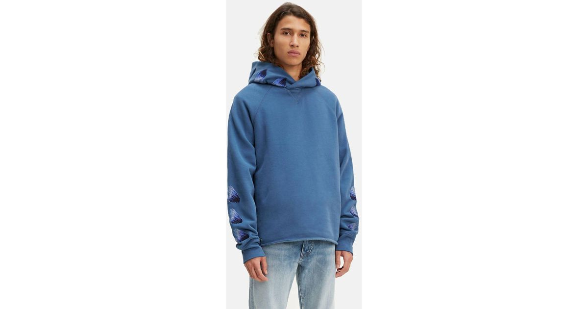 d1d9625329 Levi s Made   Crafted Unhemmed Hoodie in Blue for Men - Lyst