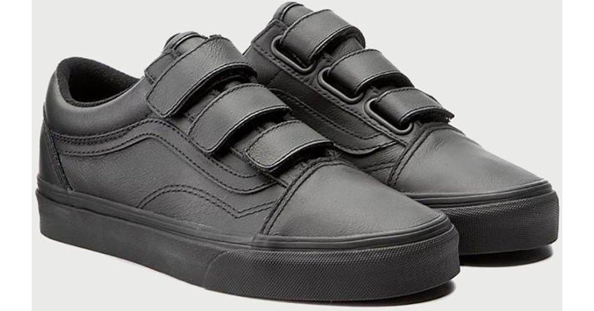Vans Old Skool Velcro (mono Leather) In Black For Men  987f407e9