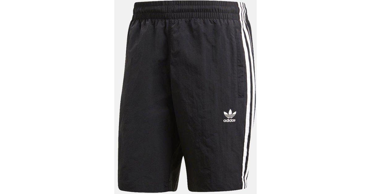 5e73f7295ce65 adidas Originals 3-stripes Nylon Swim Shorts in Black for Men - Lyst