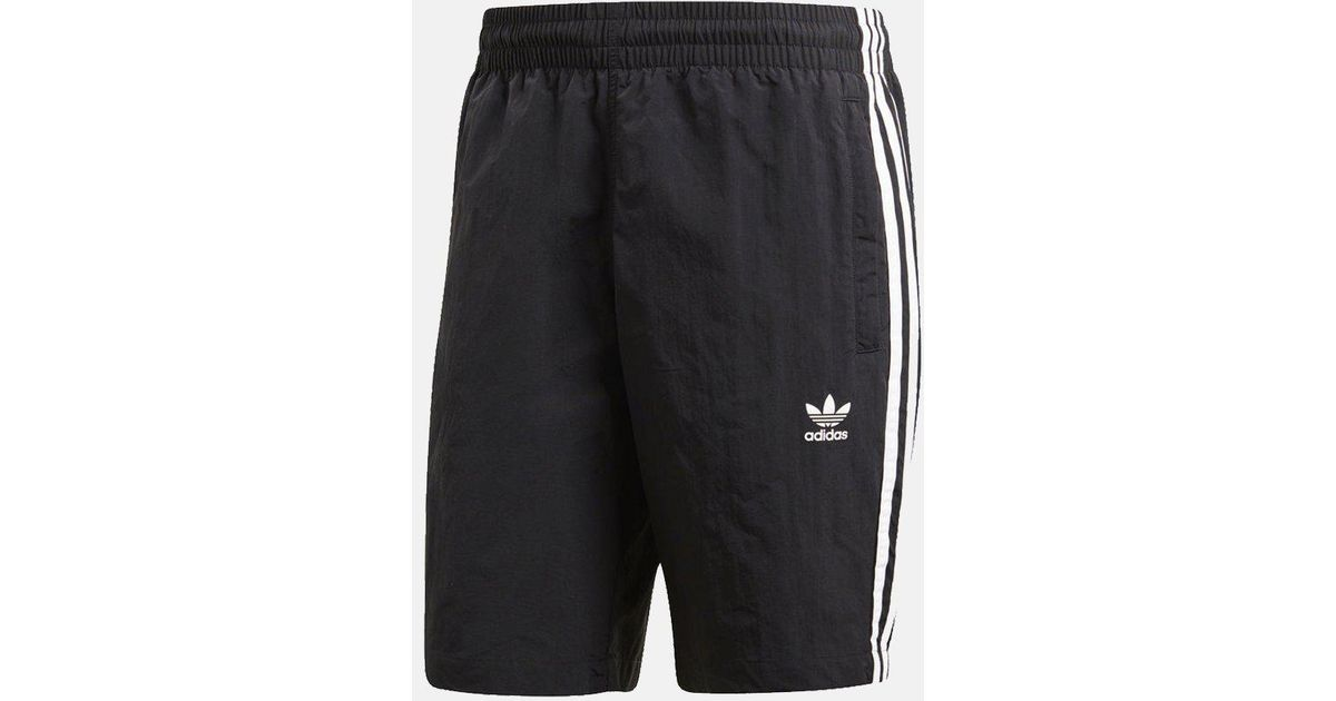 11b0fd01f8 adidas Originals 3-stripes Nylon Swim Shorts in Black for Men - Lyst