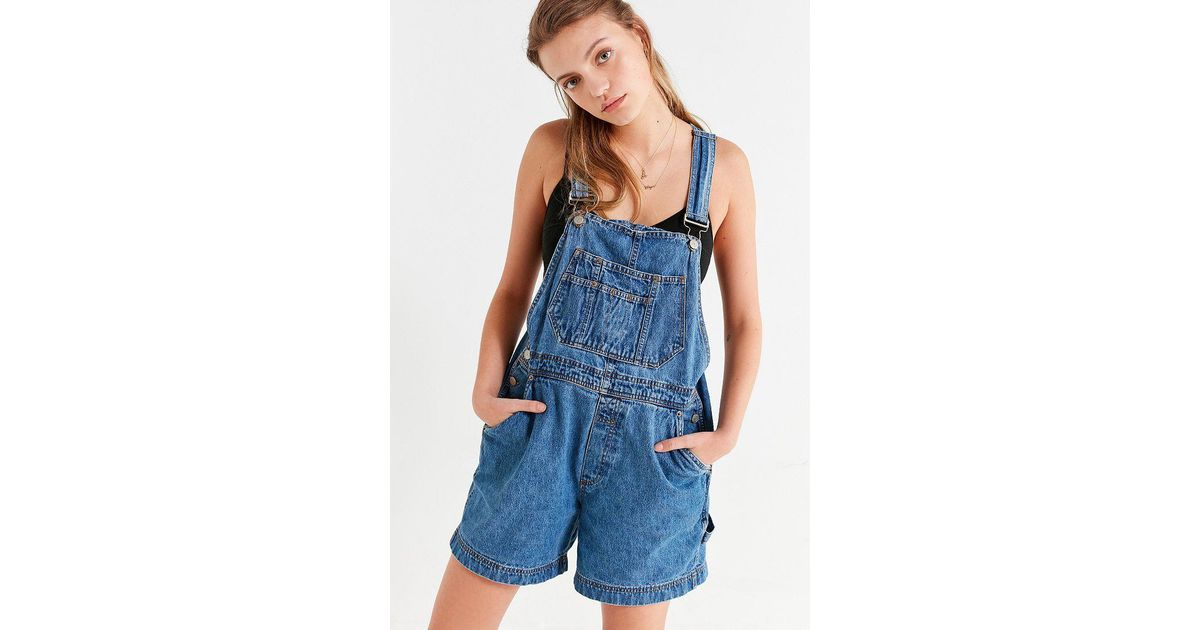 0a48d2dbf7 Lyst - Urban Outfitters Urban Renewal Remade  90s Shortall Overall in Blue