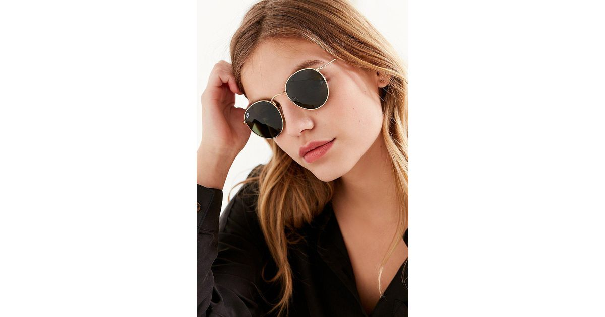 9b19181978a ... best lyst ray ban ray ban round metal classic sunglasses in metallic  c8807 853f3