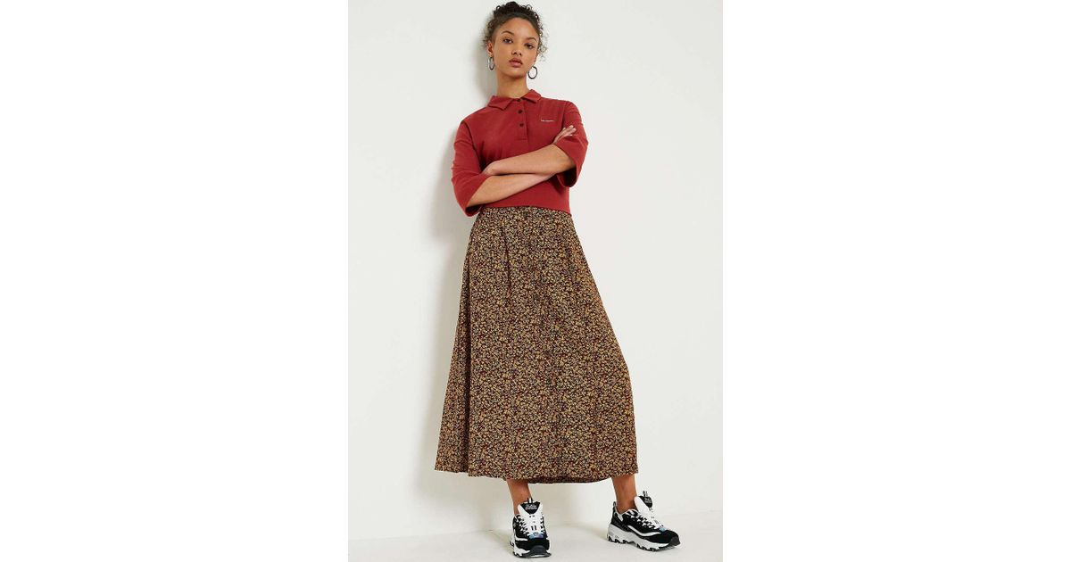 9f98fc8bb Urban Renewal Vintage Remnants Brown Floral Midi Skirt - Womens Xs in Brown  - Lyst