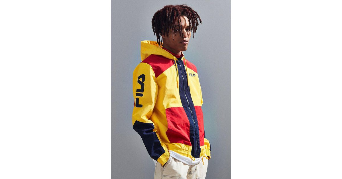 Fila Fila Earl Hooded Windbreaker Jacket In Yellow For Men Lyst