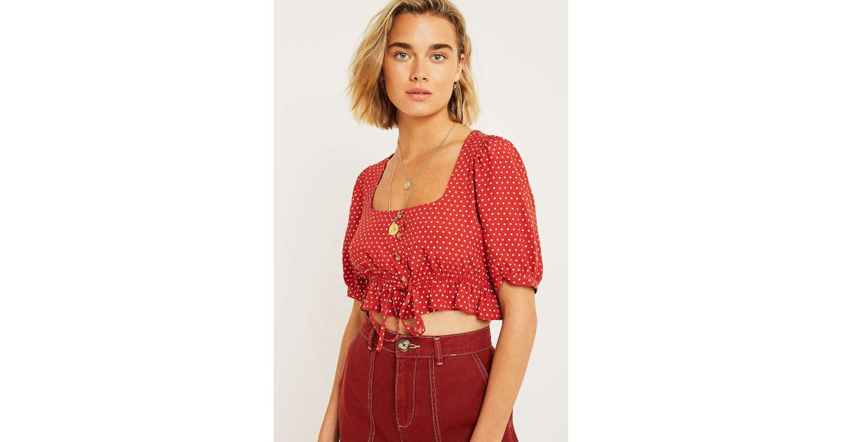 d83413cbe9711 Urban Outfitters Uo Spotted Square Neck Tie-front Blouse - Womens S in Red  - Lyst