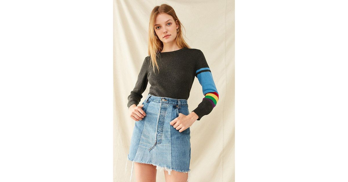 ddbe324558 Urban Outfitters Recycled Levi's Two-tone Patched Denim Mini Skirt in Blue  - Lyst