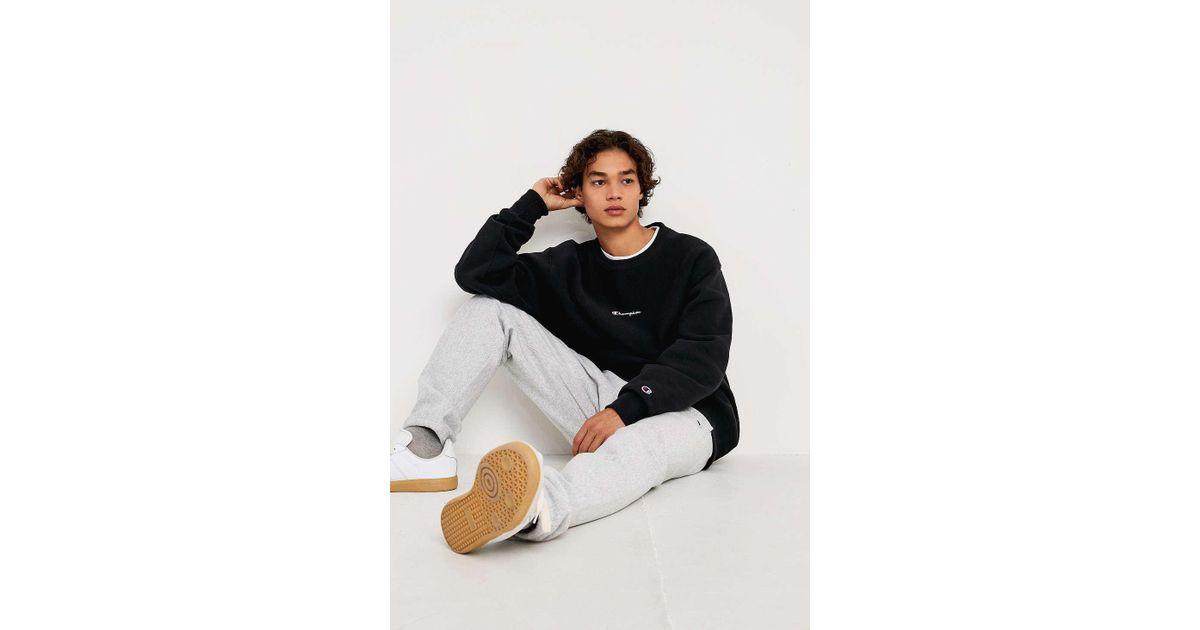 a6a9e0044c78 Champion Uo Exclusive Small Script Black Crew Neck Sweatshirt - Mens Xl in  Black for Men - Lyst