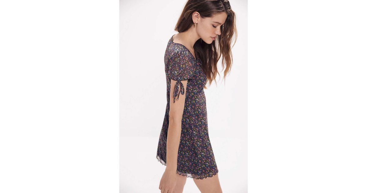 3e63f3941431b Urban Outfitters Uo Effie Ditsy Floral Mesh Mini Dress - Womens Xs in Black  - Lyst