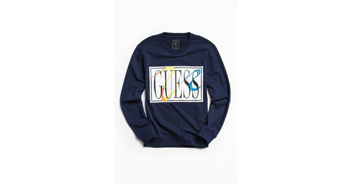 ab1608a5f Guess James Terry Crew Neck Sweatshirt in Blue for Men - Lyst