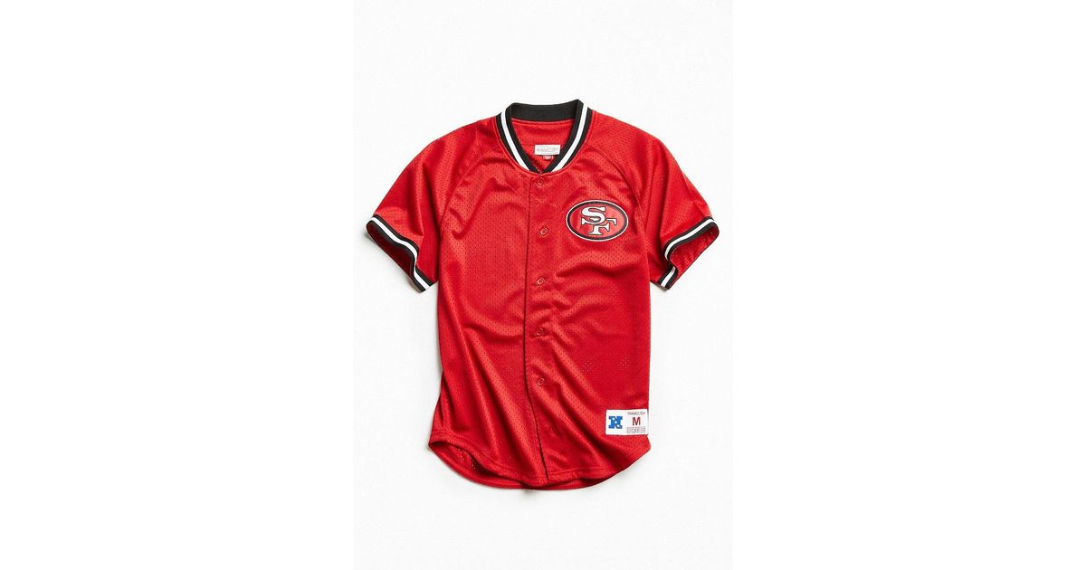 Lyst - Mitchell   Ness Nfl San Francisco 49ers Pro Mesh Button Front Jersey  in Red for Men 9be7b1dec