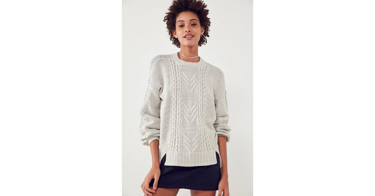 ca13e04af4 Lyst - BDG Cable Knit Balloon-sleeve Sweater
