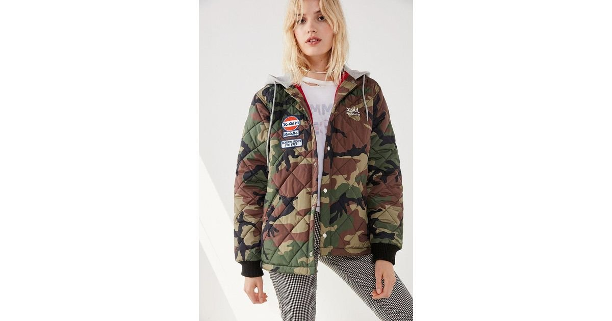 x-girl Lyst Green Quilted Camo Jacket In Work Mademe -