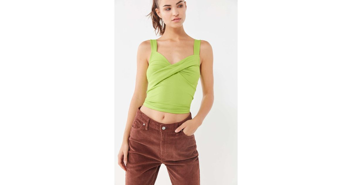 427168a7875925 Urban Outfitters Uo Pixie Twist-front Cropped Tank Top in Green - Lyst