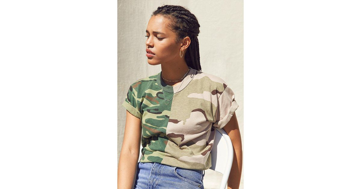 Lyst - Urban Outfitters Vintage Splice Camo Tee in Green c5a5ce12fb1