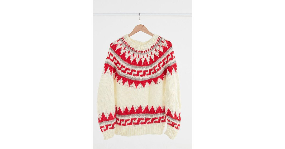 Lyst - Urban outfitters Vintage Red + Cream Fair Isle Ski Sweater ...