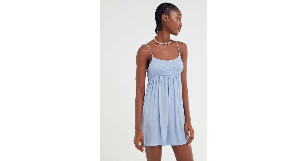 6de111f37f3 Urban Outfitters Uo Mae Smocked Tie-shoulder Babydoll Romper in Blue - Lyst