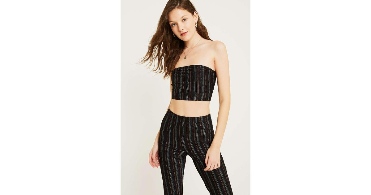 ca7302671302f7 Urban Outfitters Uo Rainbow Glitter Stripe Bandeau Tube Top - Womens M in  Black - Lyst