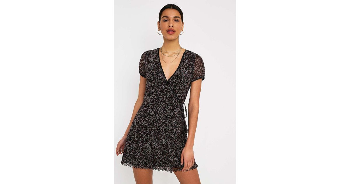 441e17fa8930b Urban Outfitters Uo Billie Ditsy Floral Mesh Wrap Mini Dress - Womens Xs in  Black - Lyst