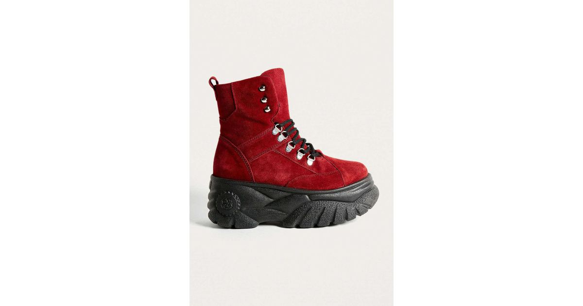 837176c317ccbb Lyst - Urban Outfitters Uo Tia Chunky Maroon Platform Boots - Womens Uk 3  in Red