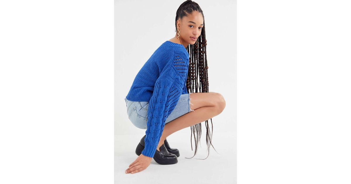 b01b86a66 Urban Outfitters Uo Rosie Oversized Plush Knit Sweater in Blue - Lyst