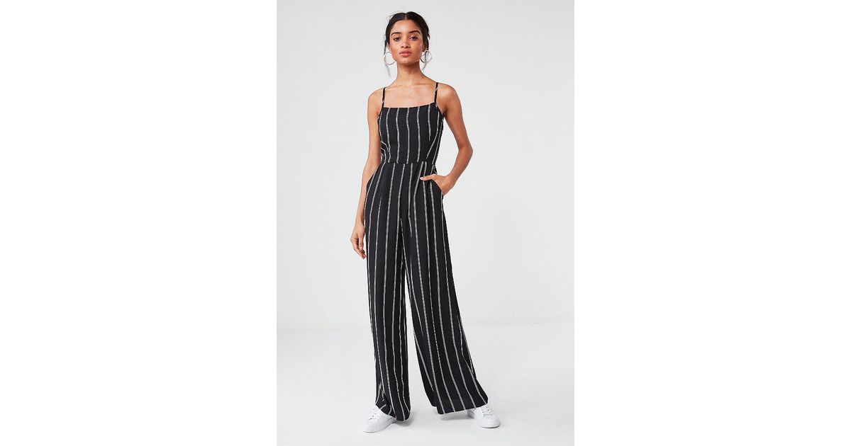 77a72c534375 Lyst - Urban Outfitters Uo Striped Wide-leg Jumpsuit in Black