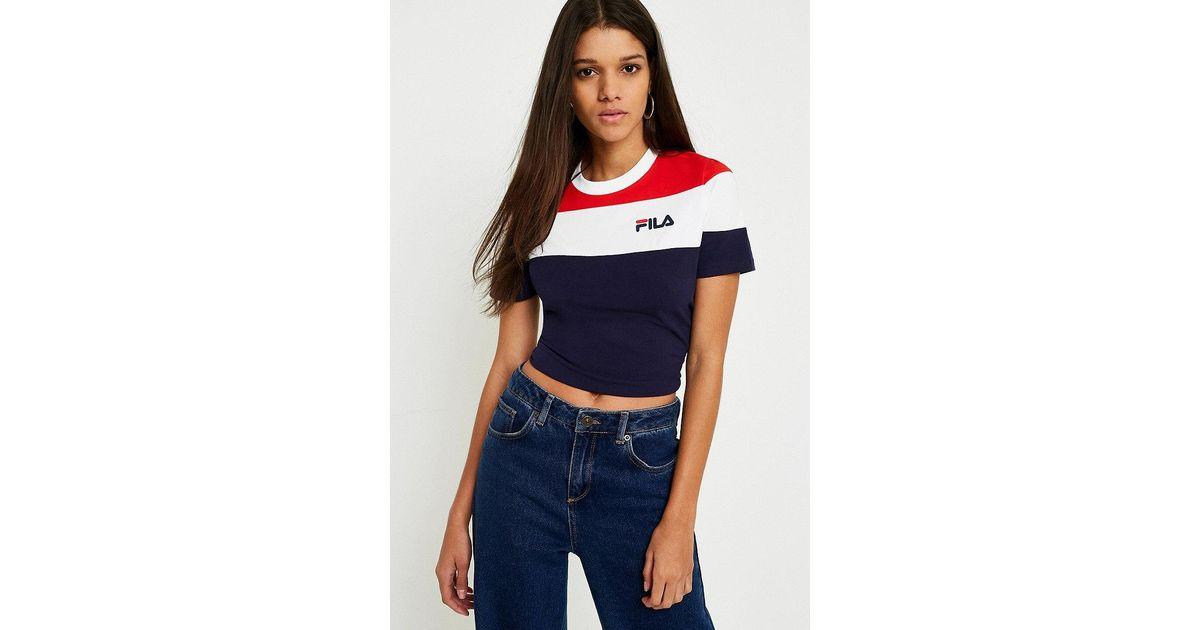 0530733a3 Fila Maya Colour-blocked Cropped Logo T-shirt in Blue - Lyst