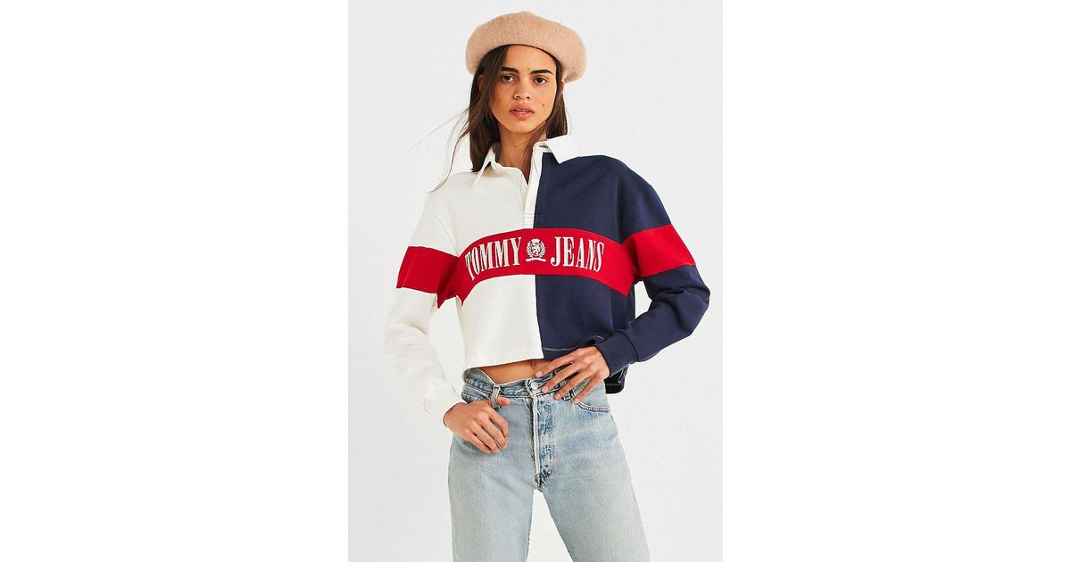 7ed4ba8f1ed Tommy Hilfiger Tommy Jeans '90s Cropped Rugby Shirt - Lyst