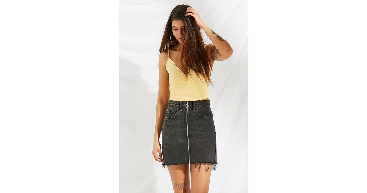 3ba855b0d7 Urban Outfitters Urban Renewal Remade O-ring Levi's Denim Mini Skirt in  Black - Lyst