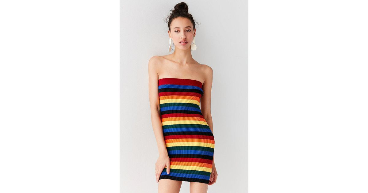 bfc6061611e Lyst - Urban Outfitters Uo Rainbow Striped Tube Mini Dress in Blue