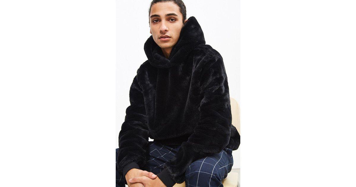 Lyst - Urban Outfitters Uo Faux Fur Hoodie Sweatshirt in Black for Men a6dd52d532ea