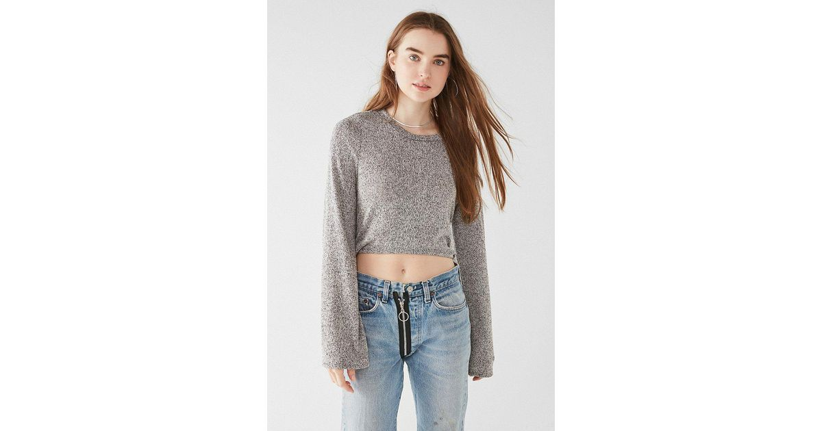 Lyst Urban Outfitters Uo Tanner Tie Back Cropped Sweater In Gray