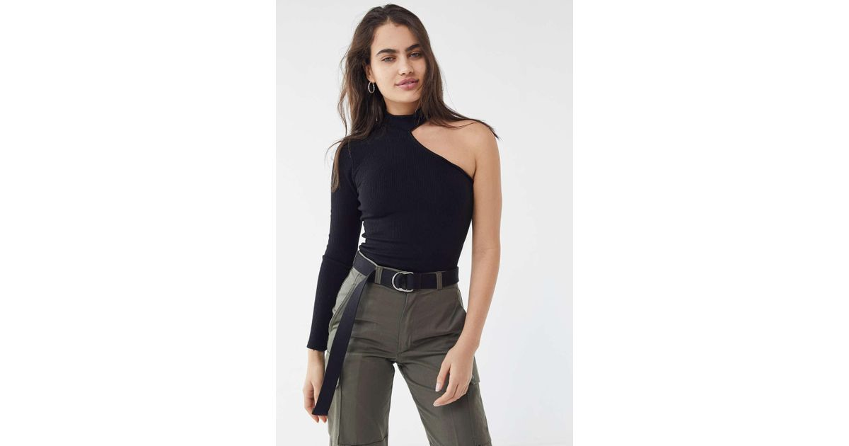 24ec4b16fa2 Urban Outfitters Uo Mia One-shoulder Mock-neck Top in Black - Lyst