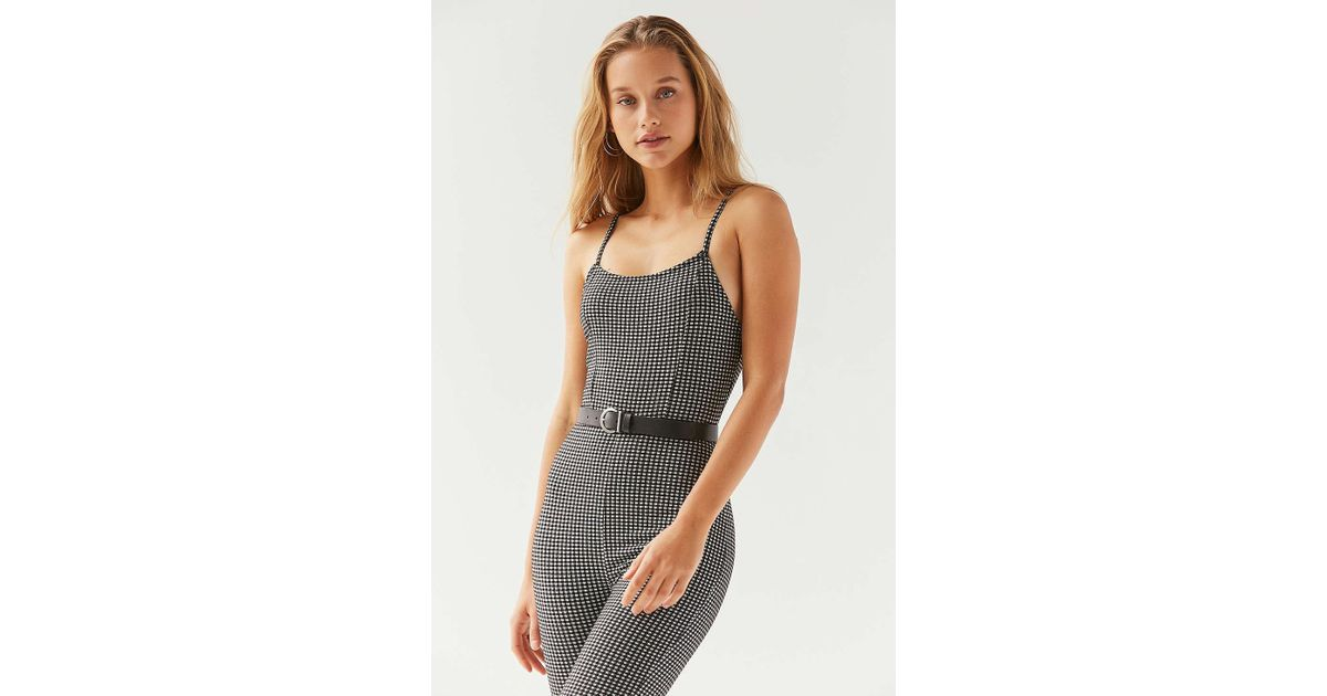 09175033310 Lyst - Urban Outfitters Uo Harlyn Bodycon Gingham Jumpsuit in Black