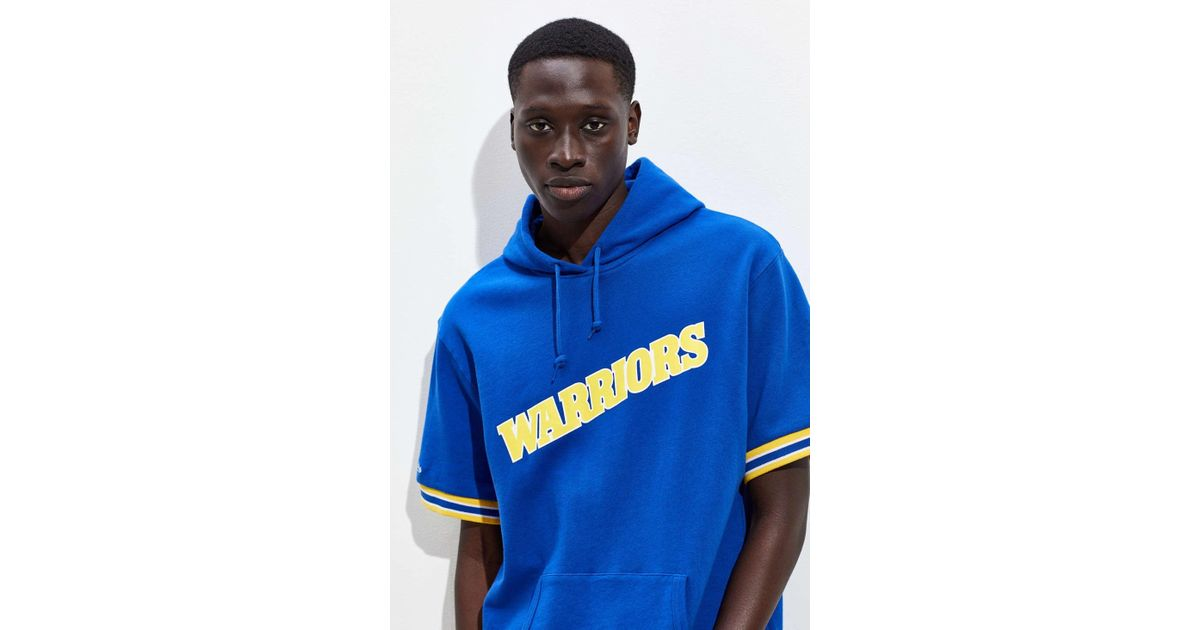 67ab2820a385 Lyst - Mitchell   Ness Golden State Warriors Short Sleeve Hoodie Sweatshirt  in Blue for Men