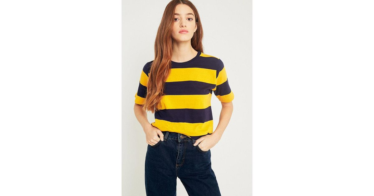 d3e45f84d5 Urban Outfitters Uo Rugby Yellow-and-navy Striped T-shirt in Yellow - Lyst